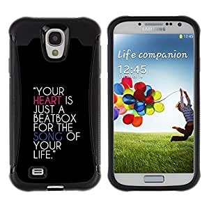 Fuerte Suave TPU GEL Caso Carcasa de Protección Funda para Samsung Galaxy S4 I9500 / Business Style Heart Beatbox Quote Music Life Song Love