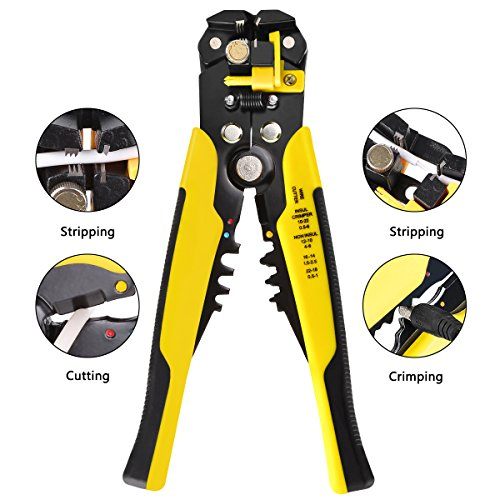 Multi-Tool Wire Stripper, 8 inch Self-adjusting Cable Cutter Crimper Automatic Wire Stripping Tool Cutting Pliers Tool for Industry 10-24 AWG (0.2-6m㎡) by ITTAHO