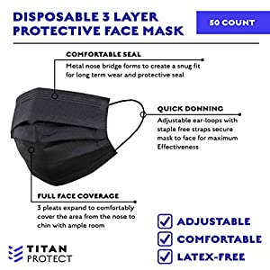 Class 1 Protective Face Masks - TITAN PROTECT 3-Layer Disposable Face Mask - Non Medical Mask Filters >95% of Particles - Elastic Ear Loop, Adjustable and Comfortable - Black (2500 Pcs) (Color: Black, Tamaño: Casepack 50 Bags (2,500 Masks Total))