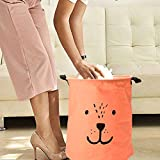 Baby Clothes Hamper, Cartoon Expressions Cotton Foldable Laundry Basket for Dirty Clothes Storage Container Red