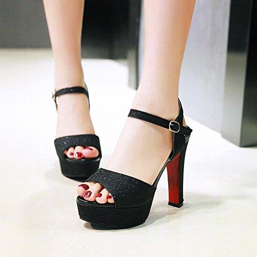 Womens Foot Buckle Elegant Sequins Heel Charm Black Sandals High Platform Sgqaa
