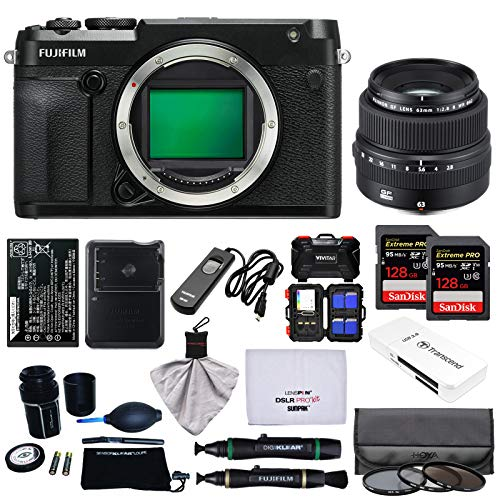 Fujifilm GFX 50R Medium Format Digital Camera Body with 63mm f/2.8 R WR Lens + 128GB Cards + Battery + Charger + Filters + Kit