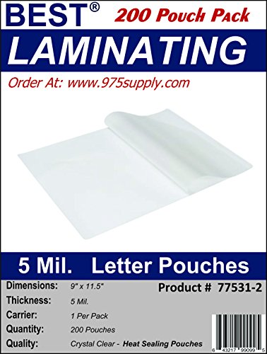Best Laminating - 5 Mil Clear Letter Size Thermal Laminating Pouches - 9 X 11.5 - Qty 200 Pouches