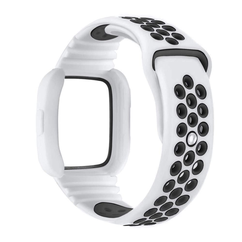 yuemizi Replacement Watch Band Bracelet Soft Silicone Sport Strap+Frame For Fitbit Versa (White) by yuemizi (Image #2)