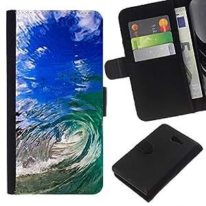 Stuss Case / Funda Carcasa PU de Cuero - Summer Sun Sea Wave Teal Blue Hawaii - Sony Xperia M2