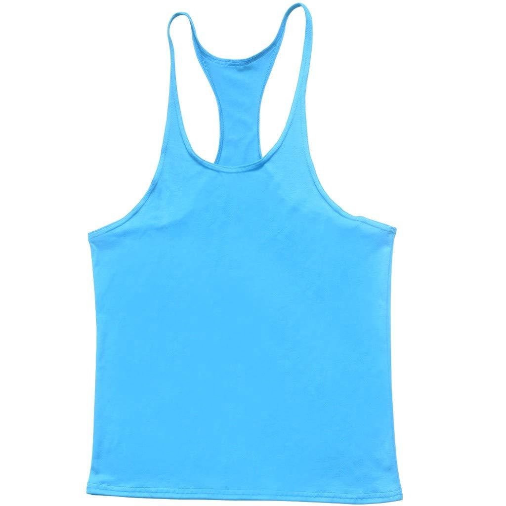 Hot!Men's Solid Color Thin Shoulder Strap Tank Tops Ninasill Off Shoulder Sleeveless Tops Sporty Fitness Casual T-Shirt Light Blue by Ninasill Man Tops (Image #2)