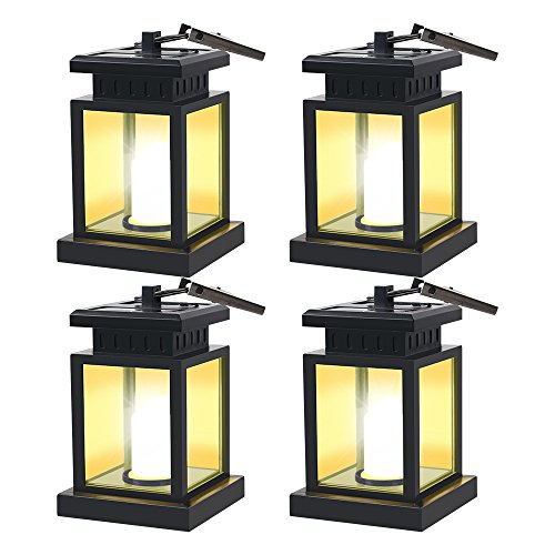 HKYH 4 Pack LED Solar Mission Lantern, Vintage Solar Powered Waterproof Hanging Umbrella Lantern Candle Lights Led with Clamp Beach Umbrella Tree Pavilion Garden Yard Lawn Etc. Lighting & Decoration