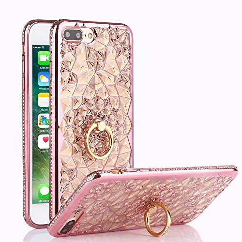 iPhone 7 Plus Case, Cellaria Chrysalis Series - Ultra Slim Luxury Bling Rhinestone Case Cover With 360 Rotating Ring Grip/Stand Holder/Kickstand For iPhone 7 Plus (5.5 Inch), Rose Gold