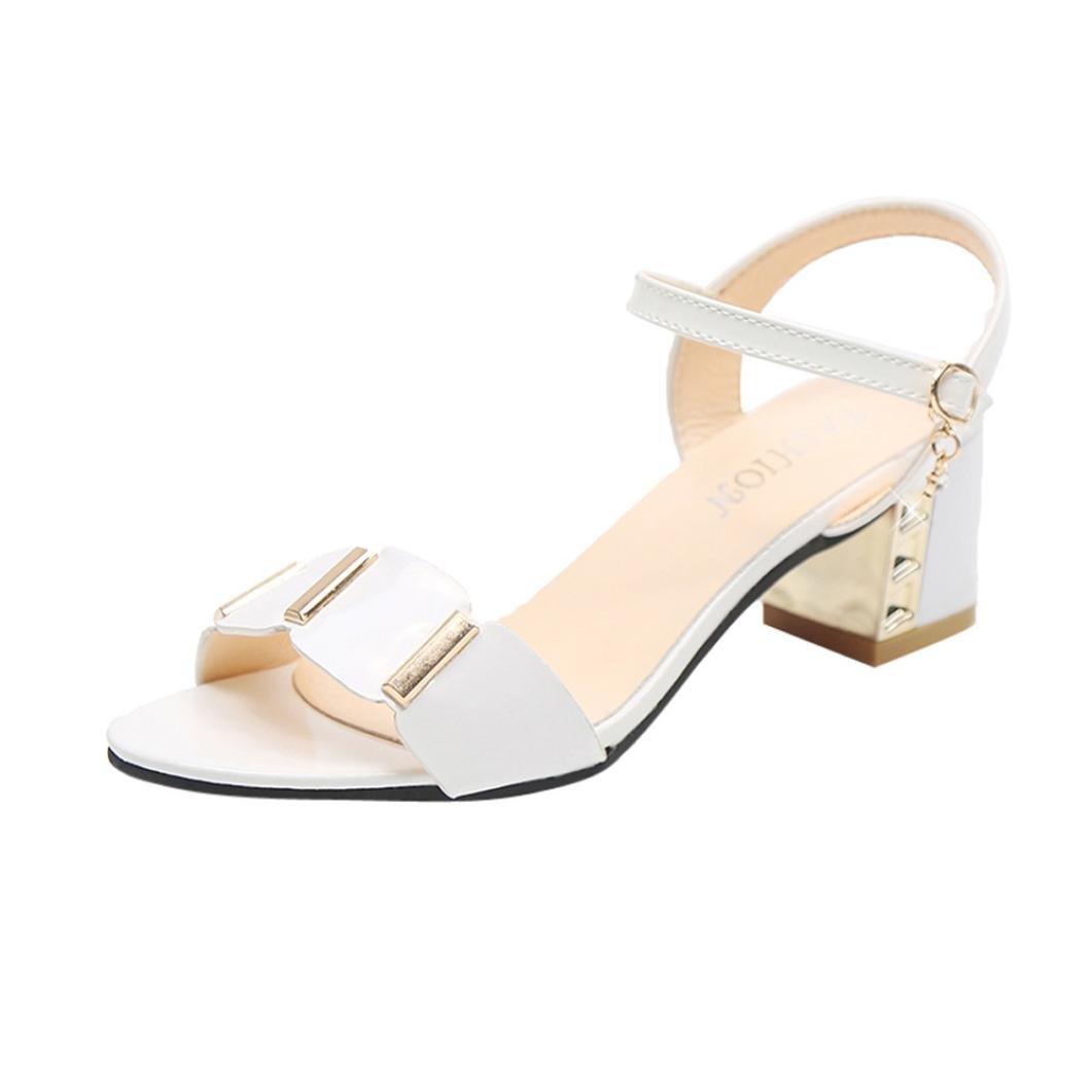 e4c27414fd35ea Familizo Sandales Mi-Talon à Bout Ouvert,Sandales Femme Chaussures pour  Femmes (EU ...