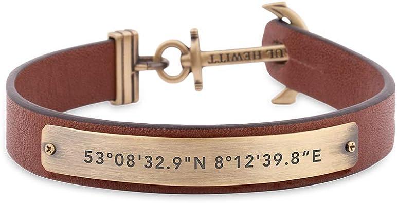 bracelet cuir marron ancre