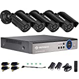DEFEWAY Home Security Camera System 4 Channel 1080P Lite 5-in-1 DVR with 4PCS HD Indoor Outdoor Video Surveillance Camera No Hard Drive