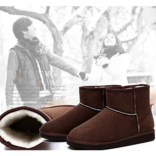 Eshion Mens Donna Inverno Stivaletti Eco-pelliccia Foderato Caldo Stivali Da Neve Peluche Scarpe Basse Caffè