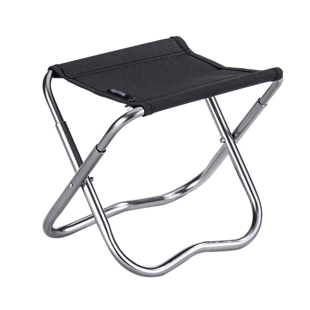Outdoor Folding Chair Aluminum Modern Minimalist Lightweight Portable Multi-Function Camping Picnic Travel Fishing Mountaineering BBQ Outdoor 2 Colors Optional (Color : Black)