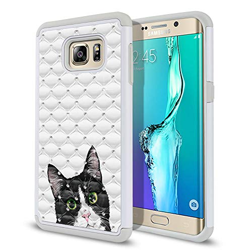 (FINCIBO Case Compatible with Samsung Galaxy S6 Edge Plus G928, Dual Layer Hybrid Protector Case Cover TPU Rhinestone Bling for Galaxy S6 Edge Plus (NOT FIT S6 Edge) - Black White Tuxedo Cat)