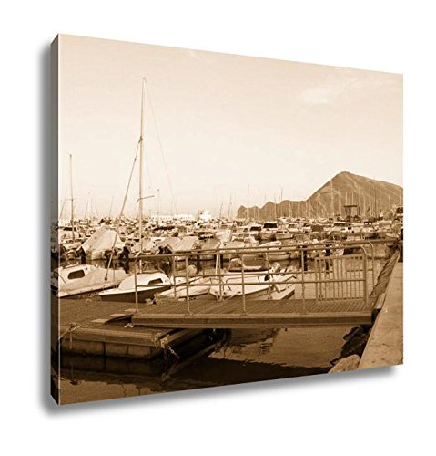 Ashley Canvas Boats Moored In Harbour Near Denia Spain, Wall Art Home Decor, Ready to Hang, Sepia, 16x20, AG6314689 by Ashley Canvas