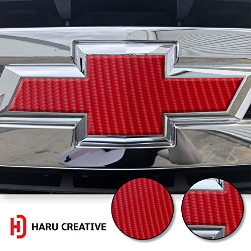 (Haru Creative - Front Hood Grille Bowtie Emblem Overlay Insert Inlay Vinyl Decal Sticker Compatible with and Fits Chevy Silverado 2019-4D Carbon Fiber Red )