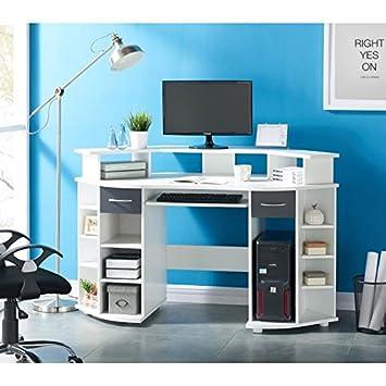 Working Bureau D Angle 146 Cm Blanc Et Gris Amazon Fr