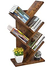 Tree Bookshelf Book Rack 4-Tier Boek Storage Organizer Planken Display Opslag Boekenkast Magazine Rack Multi-Tier Vloer Free Standing Wood Bookshelf voor Office Home School Shelf Display voor CD/MAG
