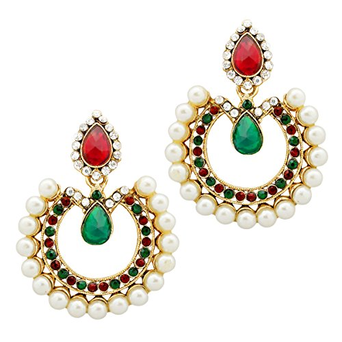 Bollywood Inspired Designer Handcrafted Indian Drop Shaped Dangler Earrings - Red Green