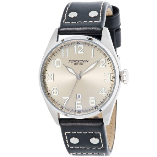 Torgoen T28102 Gents Watch Quartz Analogue Silver Dial Black Leather Strap