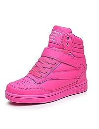 KuBua Womens Shoes Hidden Wedges 7cm Ankle Boots High Top Flats Platform Fashion Sneaker Black White Pink