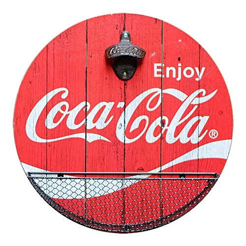 Officially Licensed Vintage Coca Cola Bottle Opener and Cap Catcher Wall Decor for Bar, Garage or Man Cave