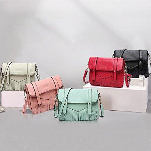 En Sac LQQAZY Sac Sac Pink Main Bandoulière Main Diagonale Cuir Mode Portable Frange à à à 5HqrqIPwa