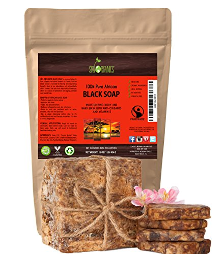 Organic African Black Soap (16oz block) - Raw Organic Soap Ideal for Acne, Eczema, Dry Skin, Psoriasis, Scar Removal, Face & Body Wash, Authentic Black Soap From Ghana with Cocoa , Shea Butter & Aloe
