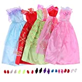 GreenSun TM 5 Pcs Beautiful Party Handmade Mini Fashion Dress Doll Clothes Short Skirt +10 Shoes For Barbie Doll Kids Girls Gifts Toys
