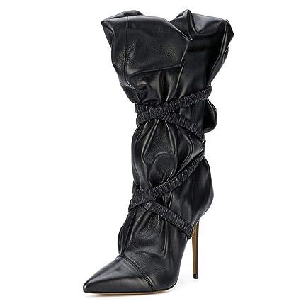 HN Boots Mujer Mediados de-Becerro Botas Mitad de la Pantorrilla Botines Moda Tacón Alto