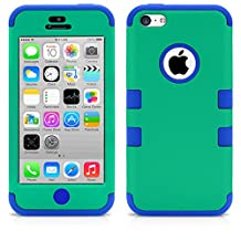 iPhone 5C Case, MagicMobile® Hybrid Impact Shockproof Cover Hard Armor Shell and Soft Silicone Skin Layer [ Green - Blue ] with Free Screen Protector / Film and Pen Stylus