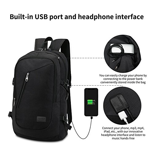 Resistant for Daypack Anti College Slim Computer Grey Charging USB Inch Rucksack Backpack Port Work Business Theft GIM Water 6 with Theft 1 Lock Backpack Port Laptop and 15 Bag black with Earphone 2 qWaxUqFRn