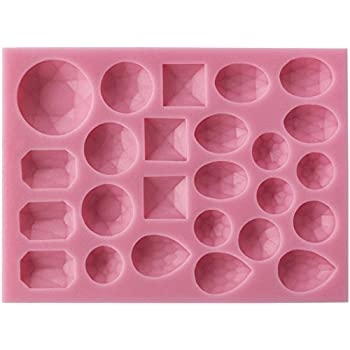 Funshowcase 25 Small Diamond Gems Assorted Shapes Silicone Mold for Cake Decorating, Crafting, Polymer Clay, Resin