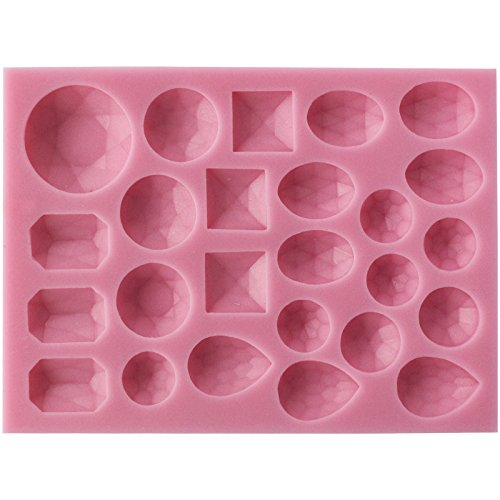 - Funshowcase 25 Small Diamond Gems Assorted Shapes Silicone Mold for Cake Decorating, Crafting, Polymer Clay, Resin