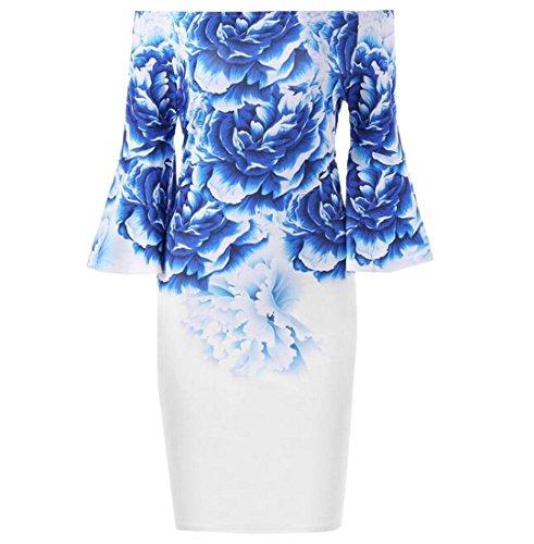 Coolred Femmes Impression Robes Club Bustier Base Rétro Bleu Robe D'été
