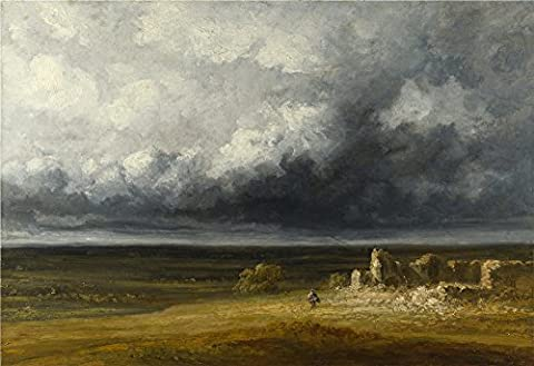 Oil Painting 'Georges Michel - Stormy Landscape With Ruins On A Plain,after 1830', 8 x 12 inch / 20 x 30 cm , on High Definition HD canvas prints, gifts for Game Room, Hallway And Kitchen - Clair Lightening