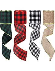 AIEX 4 Rolls Burlap Ribbon Christmas Wired Edge Ribbons, 2.5 inch x 6.6 Yards Buffalo Plaid Ribbon Natural for Xmas DIY Craft, Christmas Wreath Bows Holiday Decorations