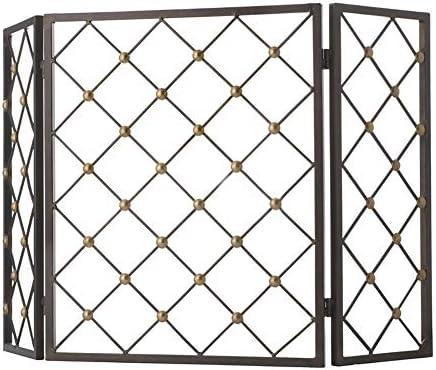 暖炉スクリーン 北欧の黒の折りたたみ式スパークガード-3パネル錬鉄製ストーブ暖炉スクリーンフレーム-リビングルームの安全ベビーカバーフェンス