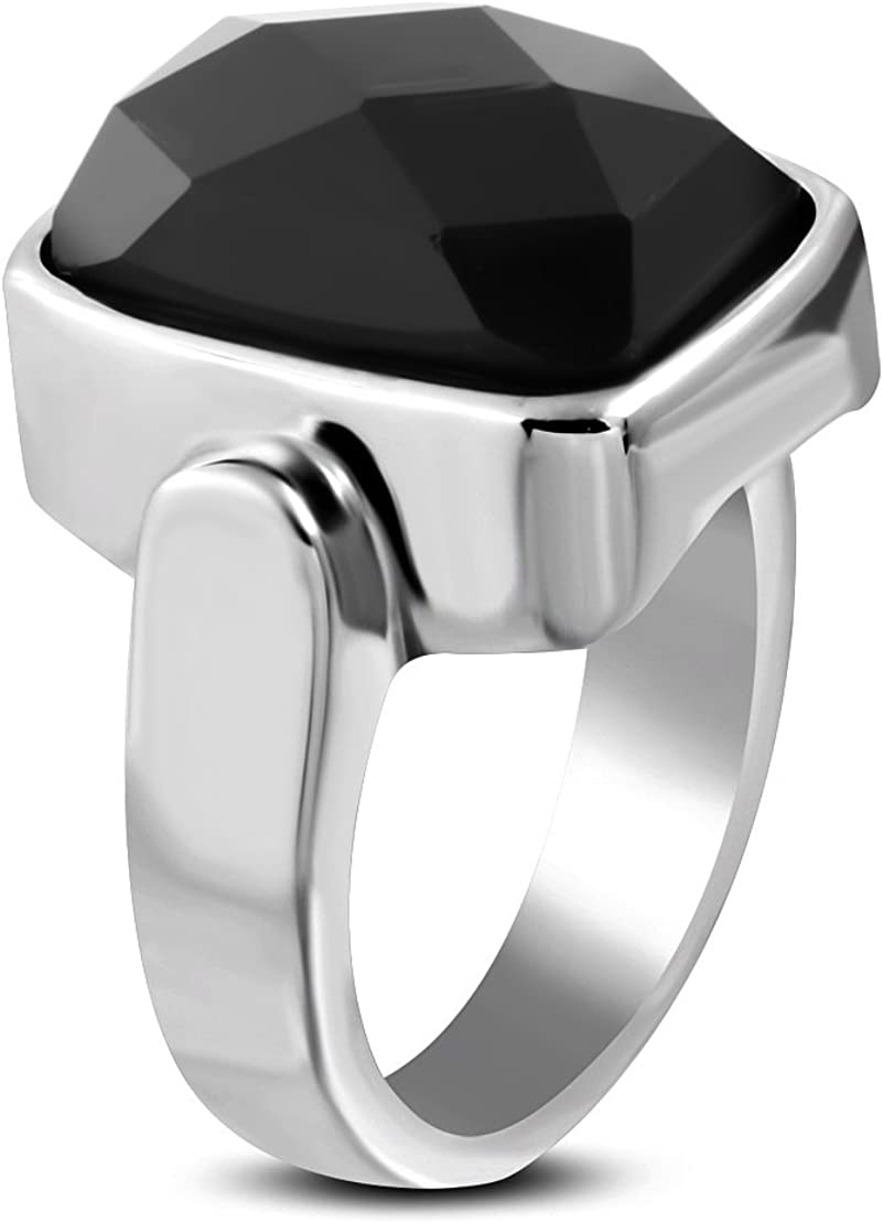 NRG Rings Stainless Steel Bezel-Set Checkerboard-Cut Rectangle Cocktail Ring with Faceted Jet Black CZ