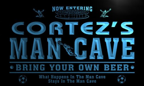 qd1481-b CORTEZ's Man Cave Soccer Football Neon Beer Sign by AdvPro Name