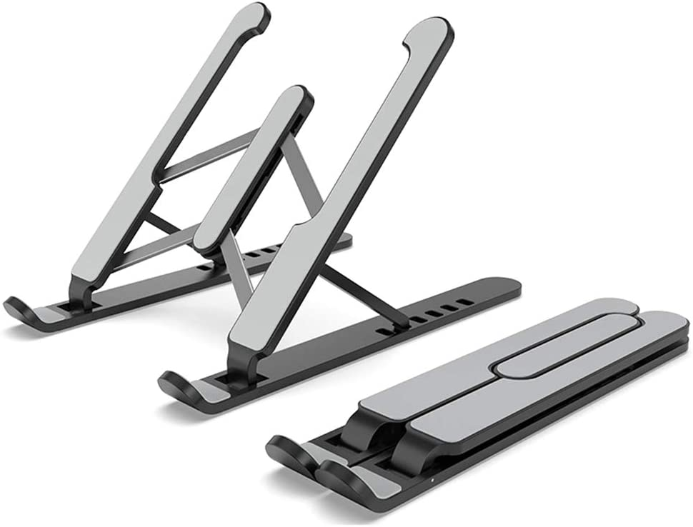 Docooler 7-Levels Height Adjustable Laptop Stand Computer Holder Bracket Portable Foldable Bendable Non-Slip Notebook Holder for Home Office Daily Use Student