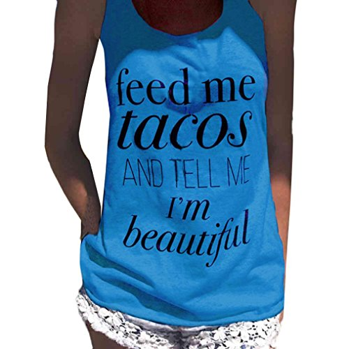 Tloowy Women Tank Tops Feed Me Tacos Shirts Funny Letter Print Tank Crop Tops Vest T-Shirt (Blue, (Funny Womens Pajamas)