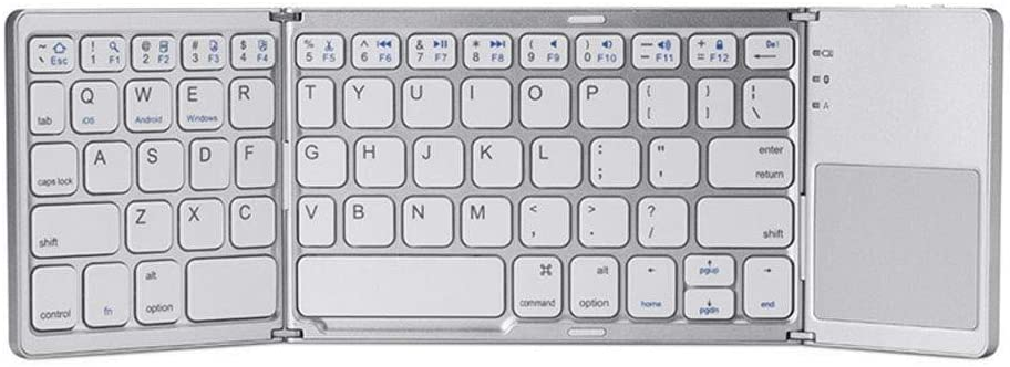 Color : White ZBJP Foldable Bluetooth Keyboard Wireless Folding Keyboard Portable ABS Wireless Keyboard Tri-fold Bluetooth Keyboard for Most Bluetooth-Enabled