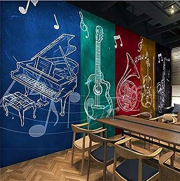 Weaeo Personalizado Rock Guitarra Notas Musicales Murales De Papel ...