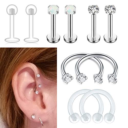 f8495e5ca FIBO STEEL Stainless Steel Cartilage Earring Stud Horseshoe Hoop Nose Ring Piercing  Jewelry Opal CZ Inlaid