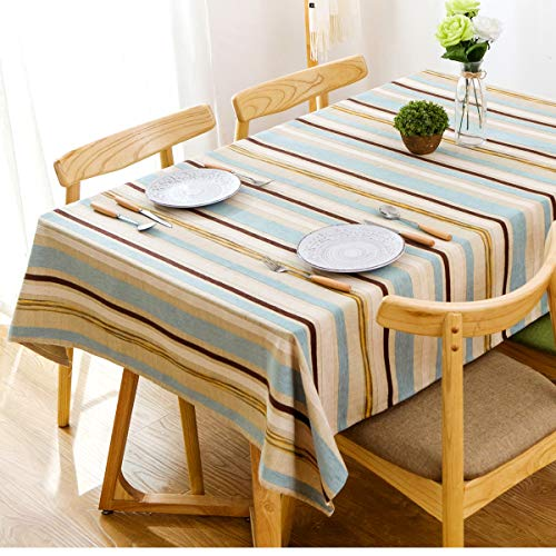 J-MOOSE Tablecloth Three-Dimensional Embroidery Colored Stripes Rectangle/Oblong Heavy Weight Cotton Linen Rectangular Dust-Proof Table Cover for Kitchen Dinning Tabletop Decor (52 x 78 Inch) ()