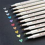 Metallic Marker Pens, Metal Art Permanent Marker Set of 10 Assorted Color for Glass Paint, Painting Rocks, Black Paper, Photo, Album, Gift Card Making, Christmas DIY Craft Kids.