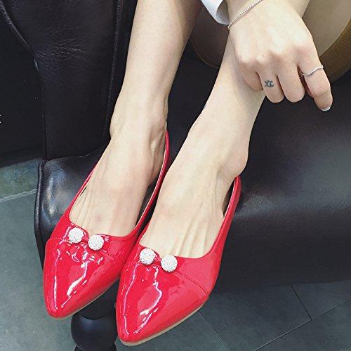 YFF YFF YFF New women's shoes pointed flat bottom shoes patent leather diamond women's flat heels,pink , 39 casual all-match B072XK3J9B Parent 87b1ac