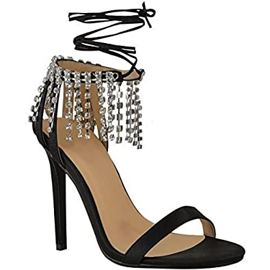 378ac56d317 Fashion Thirsty Womens Ladies Party Prom Diamante Sparkle High Heels  Sandals Ankle Lace Up Size  Amazon.co.uk  Shoes   Bags