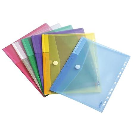 Tarifold Dokumententasche / Sammeltasche Din A4 mit Klettverschluss & Universallochung - 12 Stk. in 6 Farben (Blau, Gelb, Lil